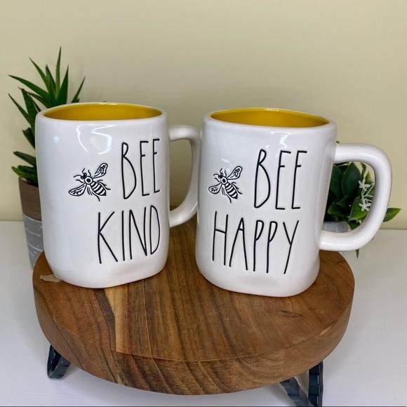 RAE DUNN 2 COFFEE Mug Set BE HAPPY BE KIND